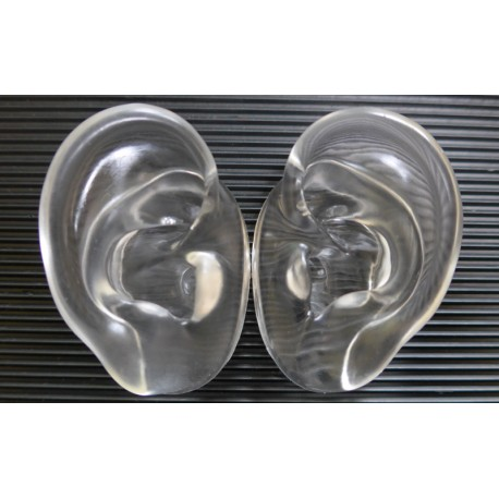 Binaural Head Ears, Silicone, Moulded, Extra Clear