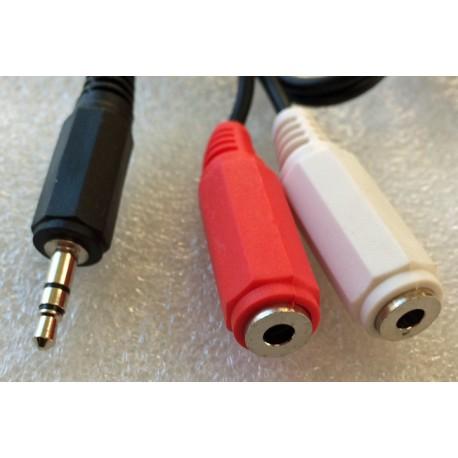 3.5mm Stereo Jack Plug to 2x 3.5mm Mono Jack Sockets Lead, 2m Black